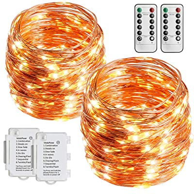 STARKER 2 Pack Battery Operated String Lights 36 Foot 100 LEDs Outdoor Fairy Lights 8 Mode Waterproof Copper Wire Twinkle Lights Bedroom, Yard, Party, Wedding (Remote Control Timer) : Garden & Outdoor