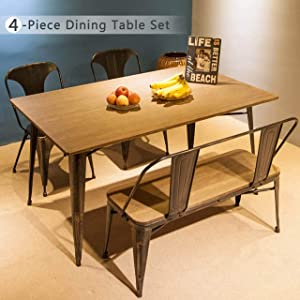 4-Piece Dining Table Set Kitchen Table with Bench and Chairs,59''x 36'', Kitchen Table Antique Style Home Furniture for Dining Room, Pub and Bistro