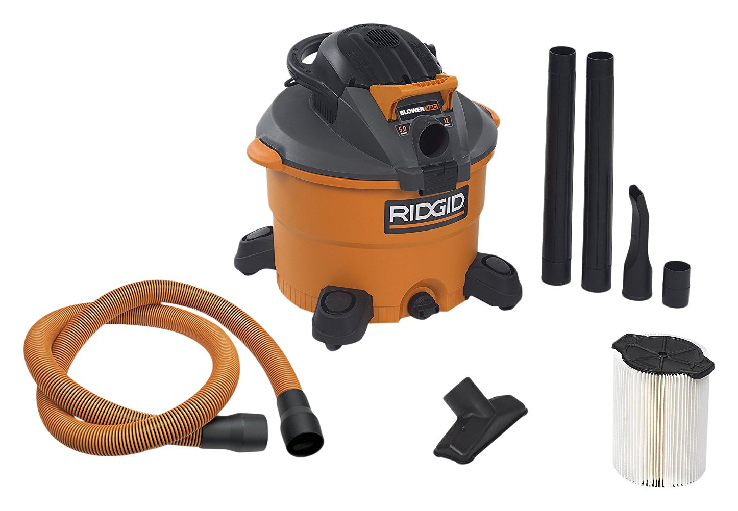RIDGID Wet Dry Vacuums VAC1200 Heavy Duty Wet Dry Vacuum Cleaner and Blower Vac, 12-Gallon, 5.0 Peak Horsepower Detachable Leaf Blower Vacuum Cleaner with Pro-Grade Hose by Ridgid