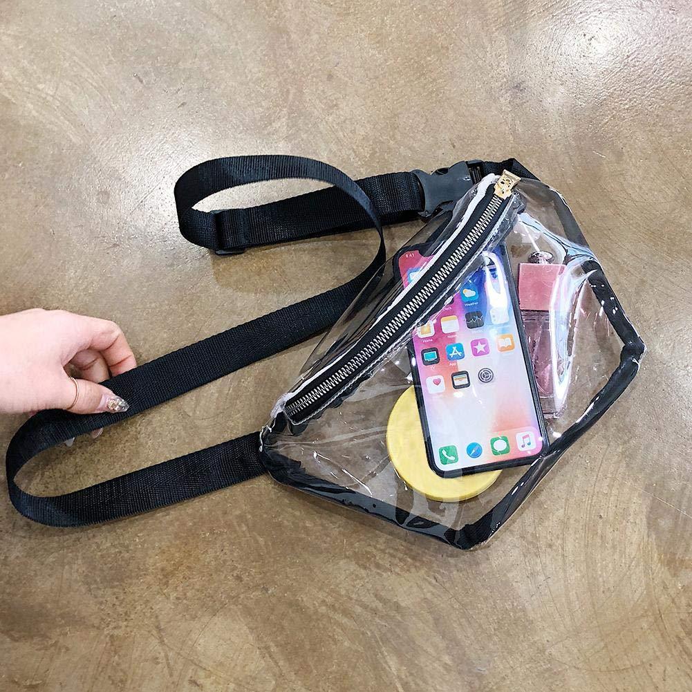 akaddy Women Transparent Waist Bags Fanny Packs Girls Waterproof Chest Bags Pink