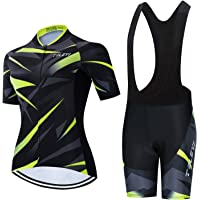 Weimostar Women's Cycling Jersey Bib Shorts Black Sets Short Sleeve Reflective