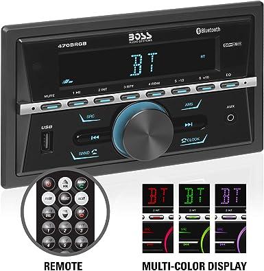 Boss Audio 470BRGB Estéreo Multimedia para Auto, Doble DIN, Audio y Llamadas Bluetooth, Reproductor de MP3, Puerto USB, Entrada Auxiliar, Receptor de Radio Am/FM, (sin CD/DVD), iluminación Multicolor: Amazon.es: Electrónica