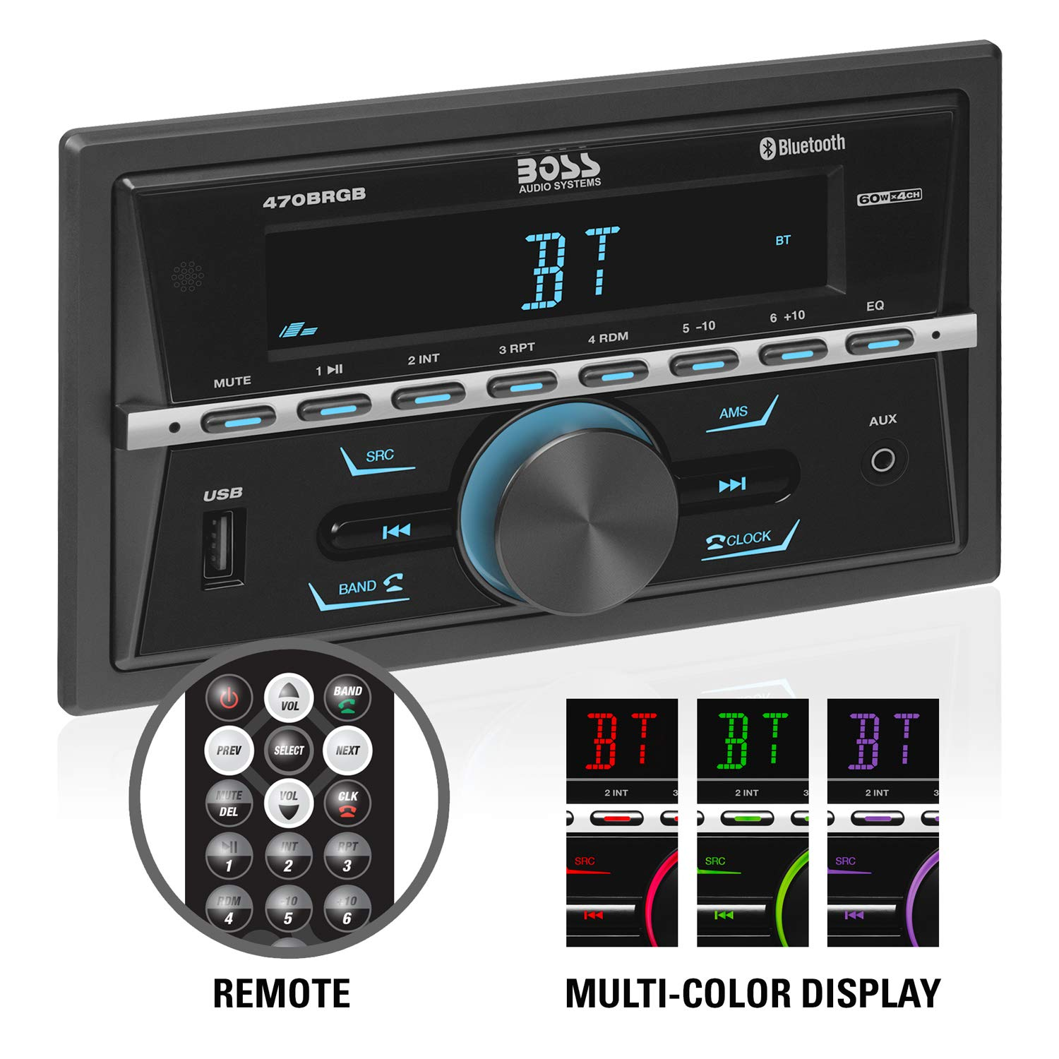BOSS Audio Systems 470BRGB Multimedia Car Stereo - Double Din, Bluetooth Audio and Calling, MP3 Player, USB Port, AUX Input, AM FM Radio Receiver, - no CD DVD, Multi Color Illumination by BOSS Audio Systems