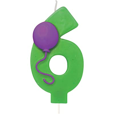 """Creative Converting 104206 Numerical Balloon Candle, 3"""", Green: Kitchen & Dining"""