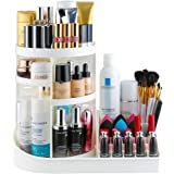 Jerrybox Makeup Organizer Tray, Adjustable Makeup Organizer, Fits Toner, Creams, Makeup Brushes, Lipsticks and More, White