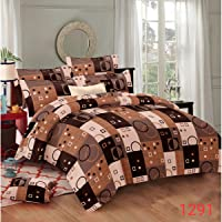 Fabture Glace Cotton Check Printed Double Bedsheet with 2 Pillow Covers