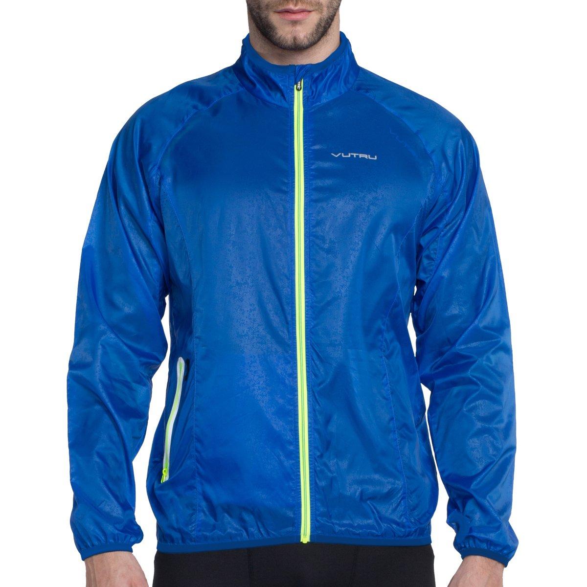 Vutru Men Running Jacket Windproof Breathable Lightweight Cycling Jersey Sportswear Windbreaker Blue XL