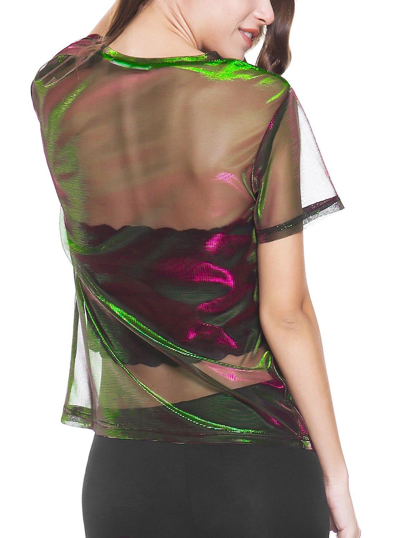 Perfashion colorful Fine Mesh Shirt Metallic Shimmer See Through Shirt For Women, Green Red, X-Large by Perfashion (Image #2)