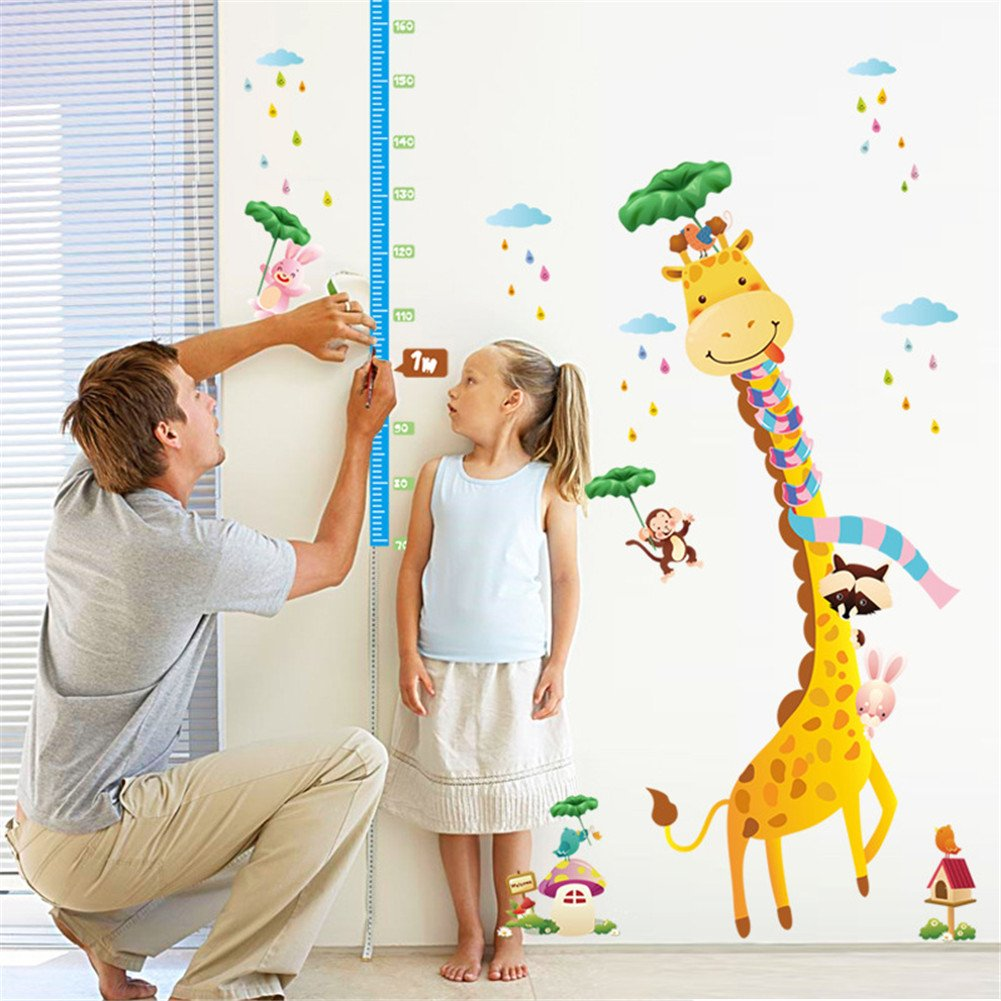 KELAI & craft art decor Cartoon Giraffe Animal Wall Decals Beautiful Height Measurement Growth Chart Wall Stickers Decals for Kids Bedroom Living Room Nursery (#2)
