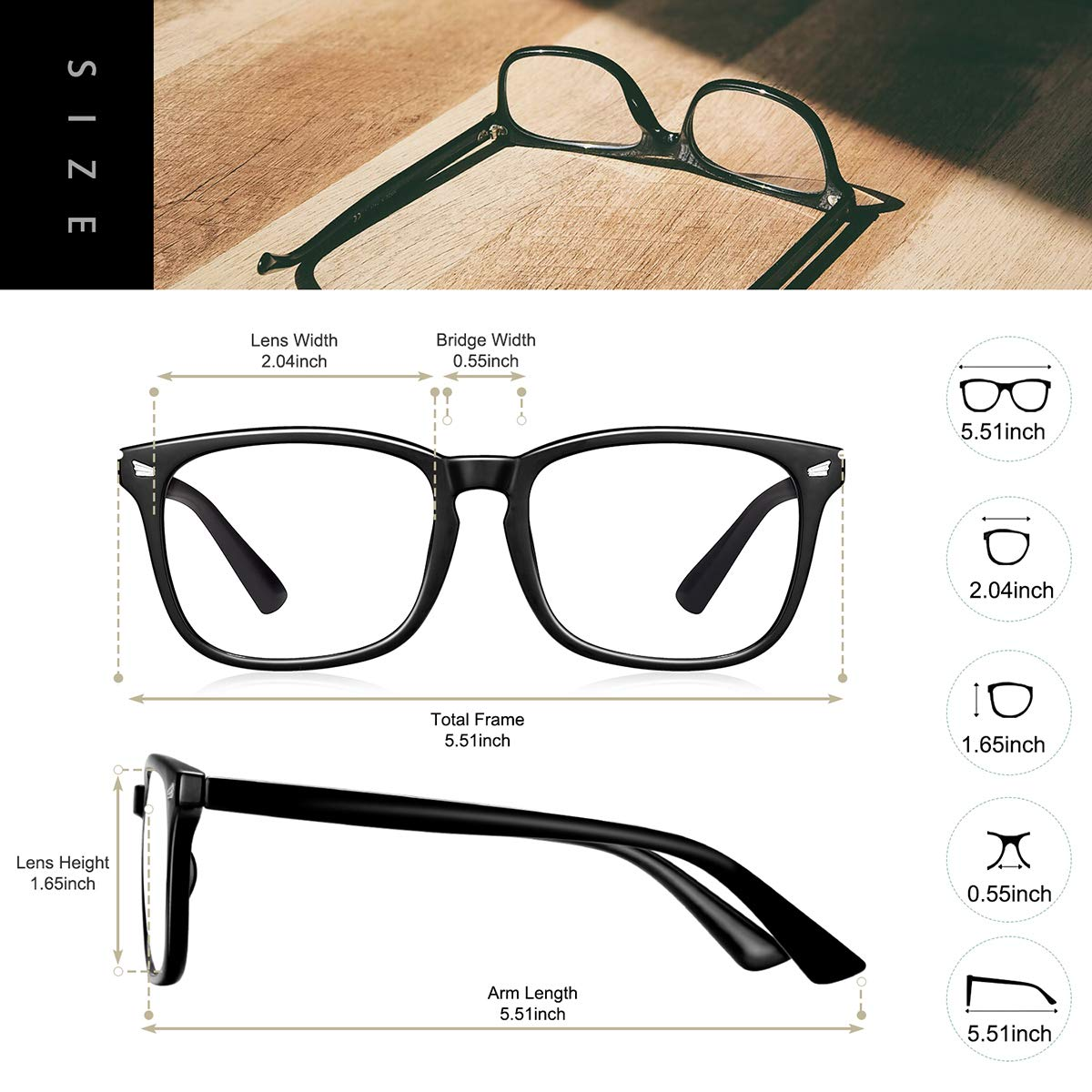 Nerd Reading Gaming Glasses Non Prescription Blue Light Blocking Glasses 2pack Square Computer Glasses Women//Men