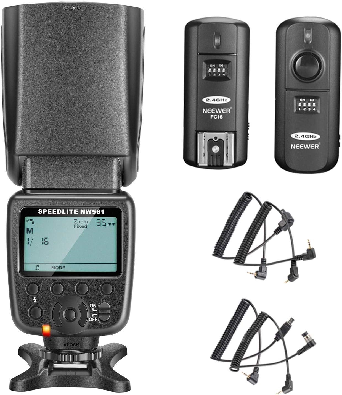 Neewer Kit de NW-561 Speedlite Flash con Pantalla LCD para Cámaras DSLR Canon & Nikon, incluye: (1) NW-561 Speedlite Flash+(1) 2.4Ghz Disparador Inalámbrico
