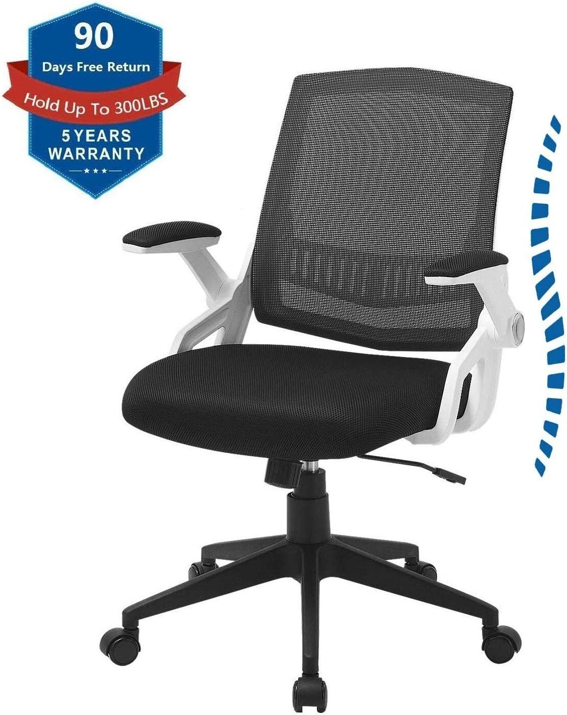 ZLHECTO Ergonomic Office Chair, Mid Back Computer Desk Chairs with Massy Cushion and Flip-up Arms, Swivel Task Chairs – Agile Height Adjustment, Load Up to 300LBS, Breathable Mesh Chairs