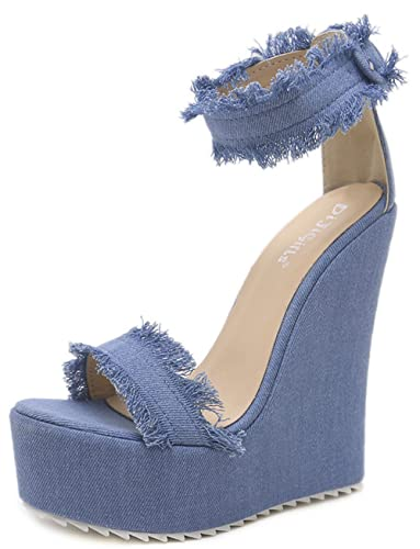7f1626937 WAROFT Women s Open Toe High Heel Summer Wedge Sandals Denim Platform  Across The Top with Buckle