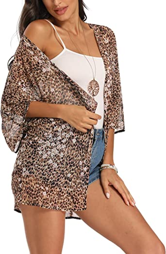 Kimonos for Women Leopard Print Tops Summer Cardigans Chiffon Loose Casual Beach Cover ups