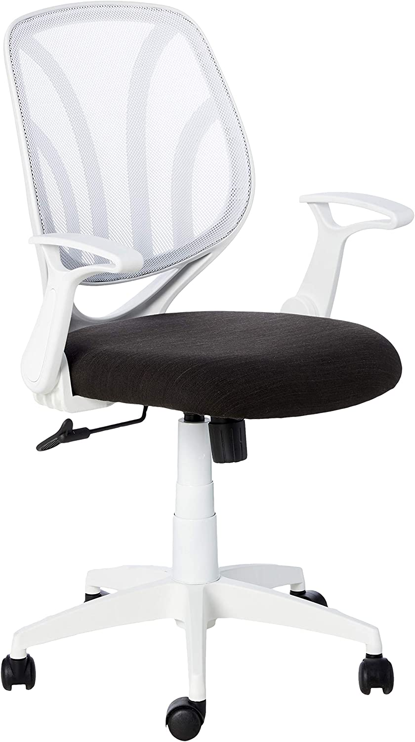 Office Star Padded Mesh Seat and Back Task Chair with Flip Arms and White Frame, Black