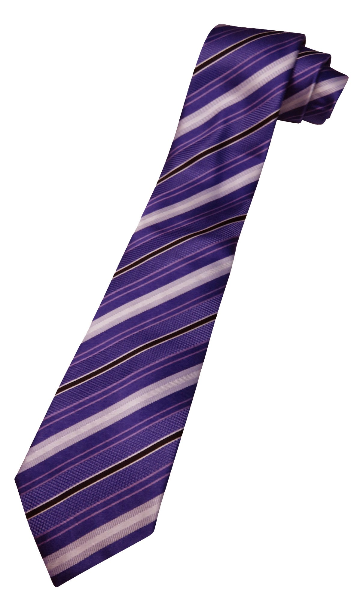 Donald Trump Neck Tie Purple Blue and Silver Striped with Gold Emblem