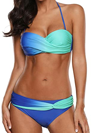 0f252d25961fb 2 Piece Womens Bikini Swimsuits Tie Dye Padded Bathing Suit Push Up Halter  Swimwear ((