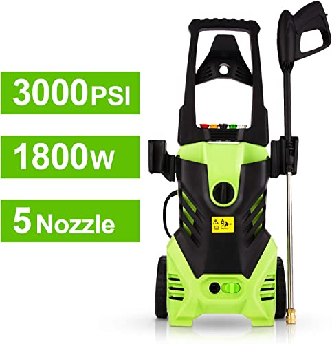 Homdox 3000 PSI Electric Pressure Washer, 1800W Power Washer, Professional Washer Cleaner Machine with 5 Interchangeable Nozzles,Upgrade