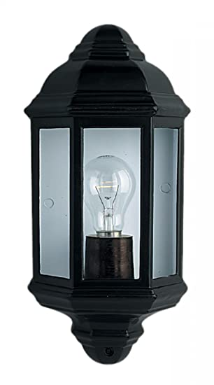 Searchlight Outdoor Wall Lights Trapani Dia Cast Black Aluminium Half Lantern Light With Clear Glass