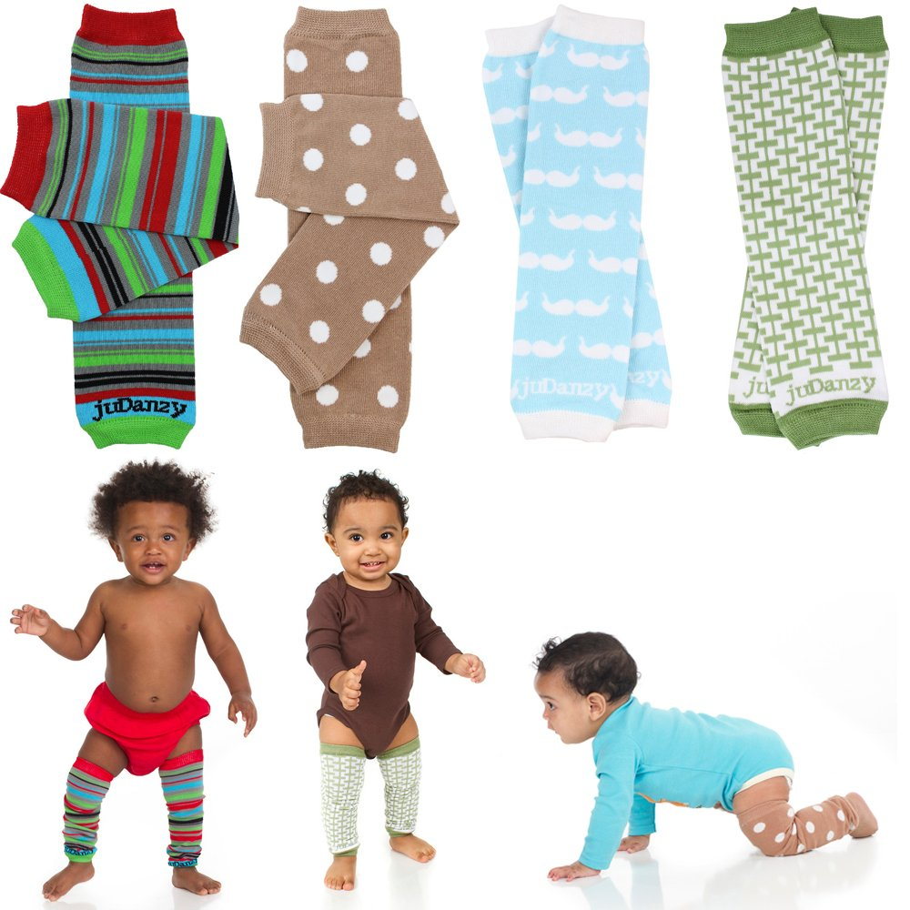 juDanzy boys organic 4 pack of baby & toddler leg warmers (mustache) by juDanzy