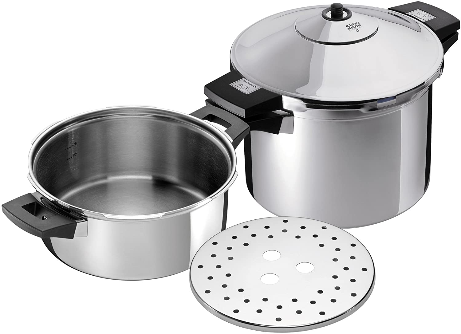 Kuhn Rikon Pressure Cooker Set Duromatic INOX mit Seitengriff 4 & 6 Litre, Set of 2-4 Litre/24 cm and 6 Litre/24 cm, Silver