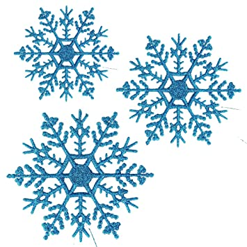 amazon com 42 assorted sized blue glitter christmas snowflakes