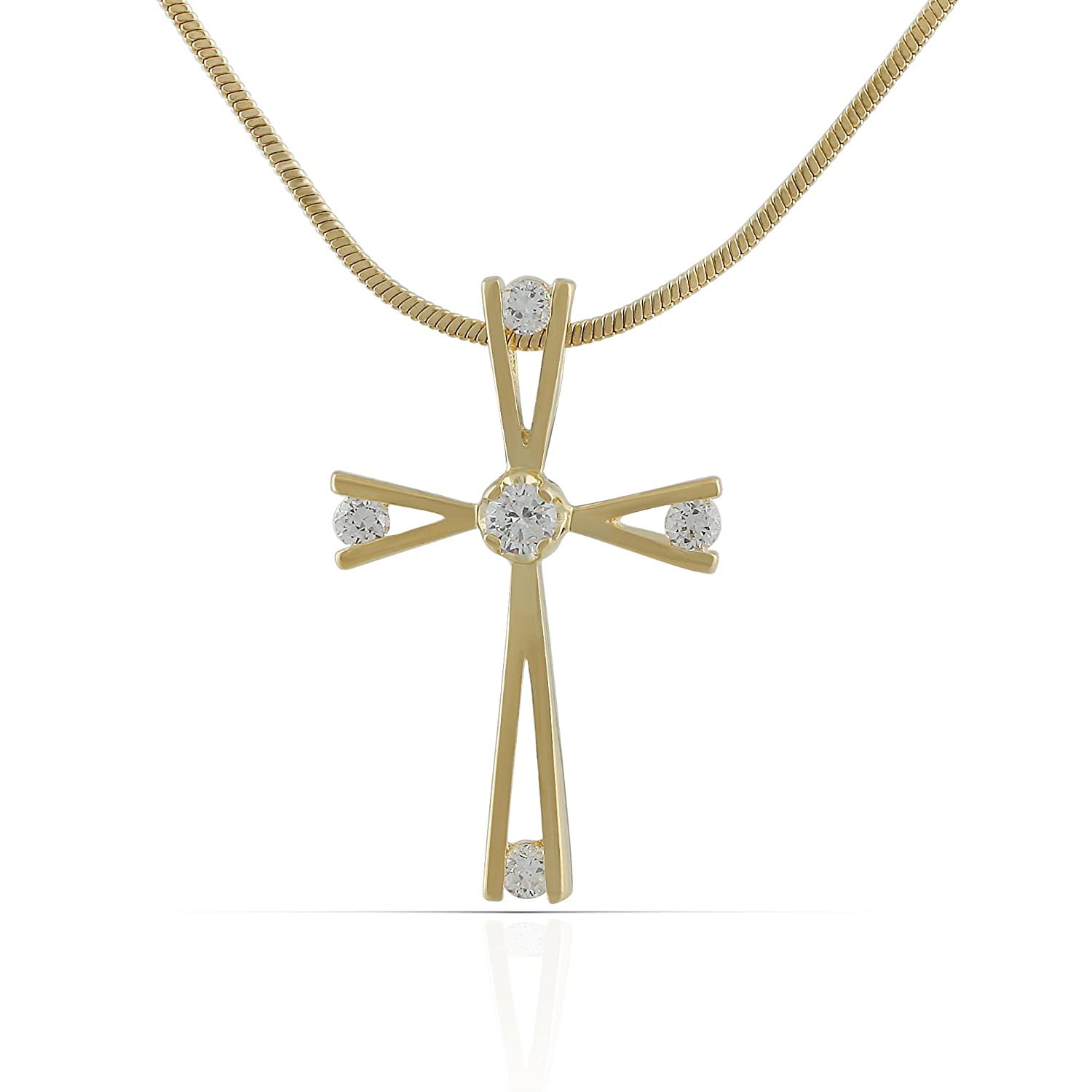 18 or 20 inch Rope Rembrandt Charms Two-Tone Sterling Silver Large Plain Cross Charm on a Sterling Silver 16 Box or Curb Chain Necklace