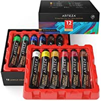 ARTEZA Acrylic Paint, Set of 12 Colors/Tubes (22 Ml/0.74 Oz.) with Storage Box, Rich Pigments, Non Fading, Non Toxic…
