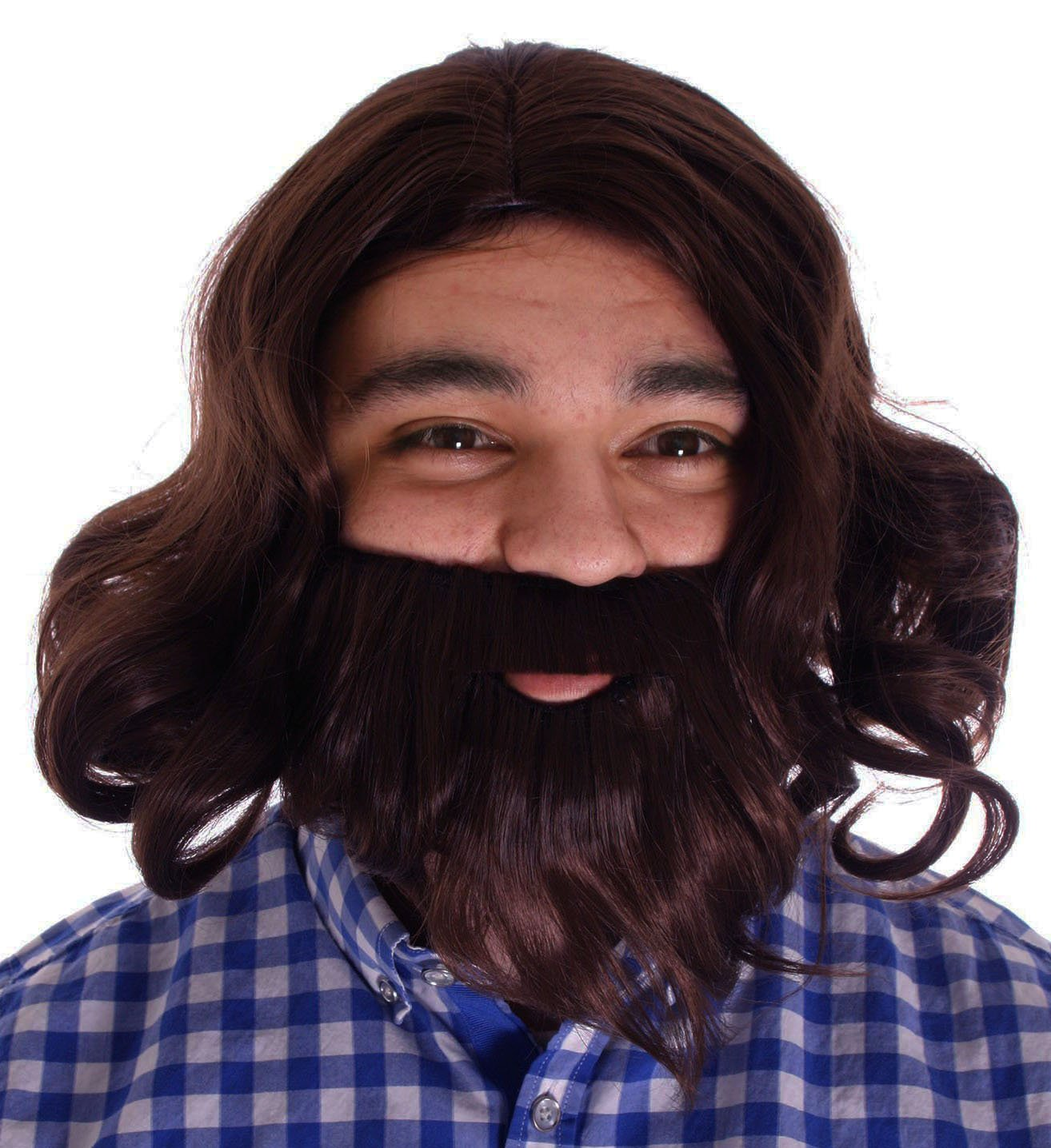 Lullaby Mens Wavy Beard Set Jesus Wigs Costume Cosplay Full Wig Free Wig Cap by Lullaby