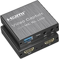 KUPVALON Tarjeta de Captura de Video, 4K HDMI a USB 2.0 Vídeo Game Capture, Convertidor Video Audio 1080P 30fps para…