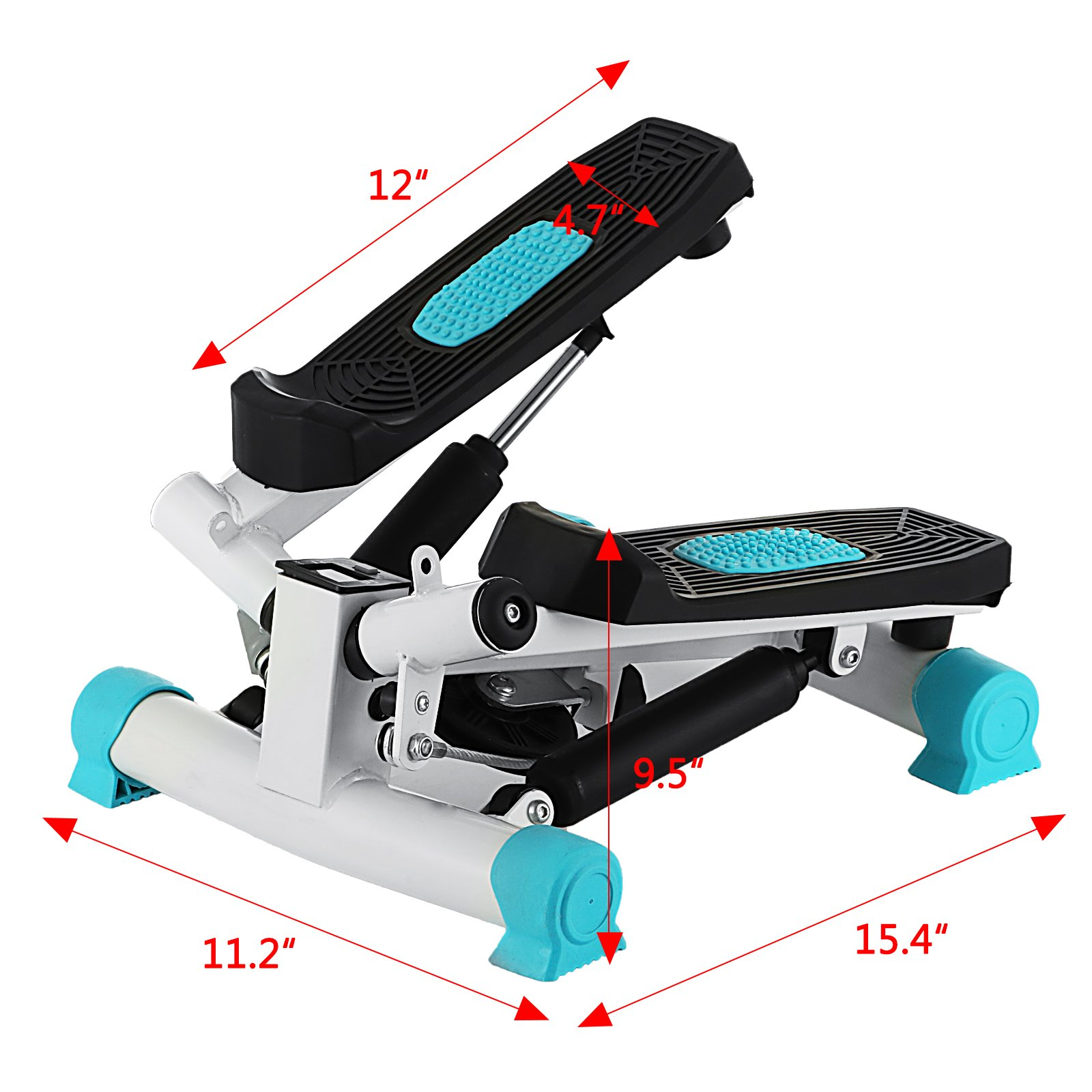Happybuy Exercise Mini Stepper 220lbs/100kg Mini Stepper Exercise Equipment Monitor Mini Stepper Machine with Band for Exercise (Blue) by Happybuy (Image #2)
