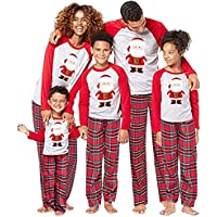 douleway Pijamas de Navidad Familia, Ropa de Noche Homewear Algodón Camisas de Manga Larga + Pantalones Largos Sudadera…