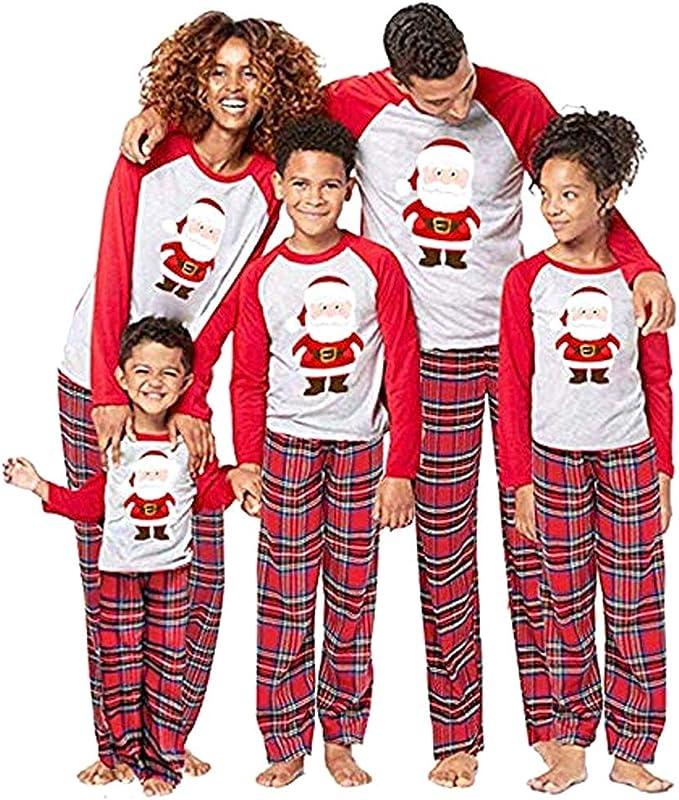 douleway Pijamas de Navidad Familia, Ropa de Noche Homewear Algodón Camisas de Manga Larga + Pantalones Largos Sudadera Invierno Conjunto de Pijamas ...