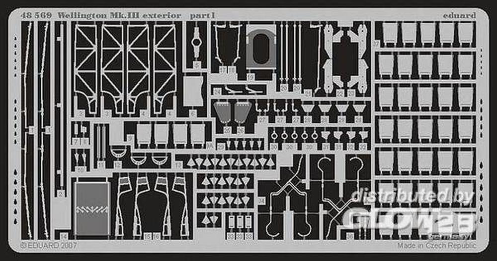 Eduard Photoetch 1 : 48 – ウェリントンMK。III Exterior ( Trumpeter ) – edp48569   B009YK686C