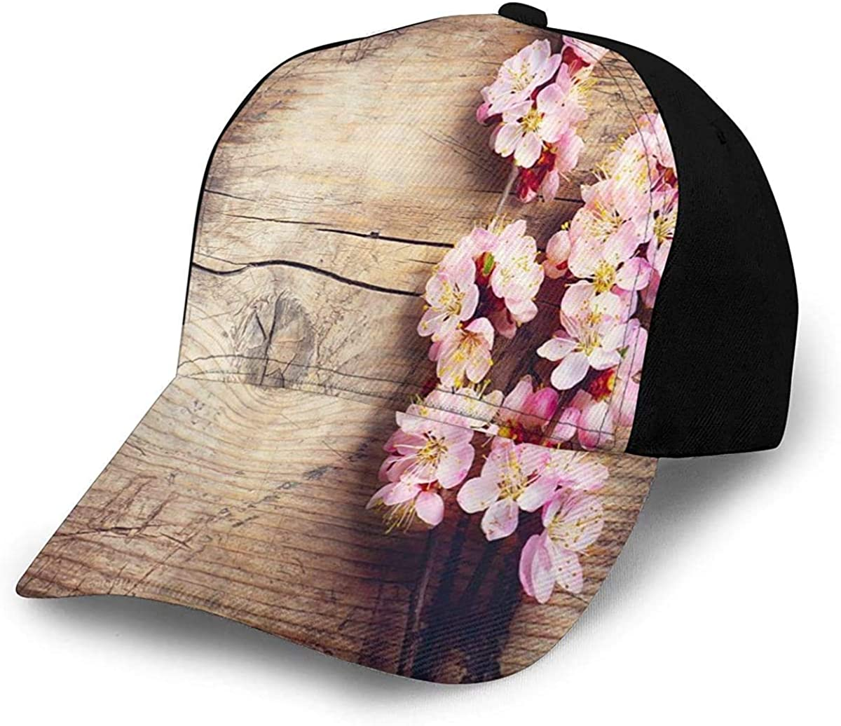 Spring Blossom On Wood Romantic Natural Lightweight Unisex Baseball Caps Adjustable Breathable Sun Hat for Sport Outdoor Black