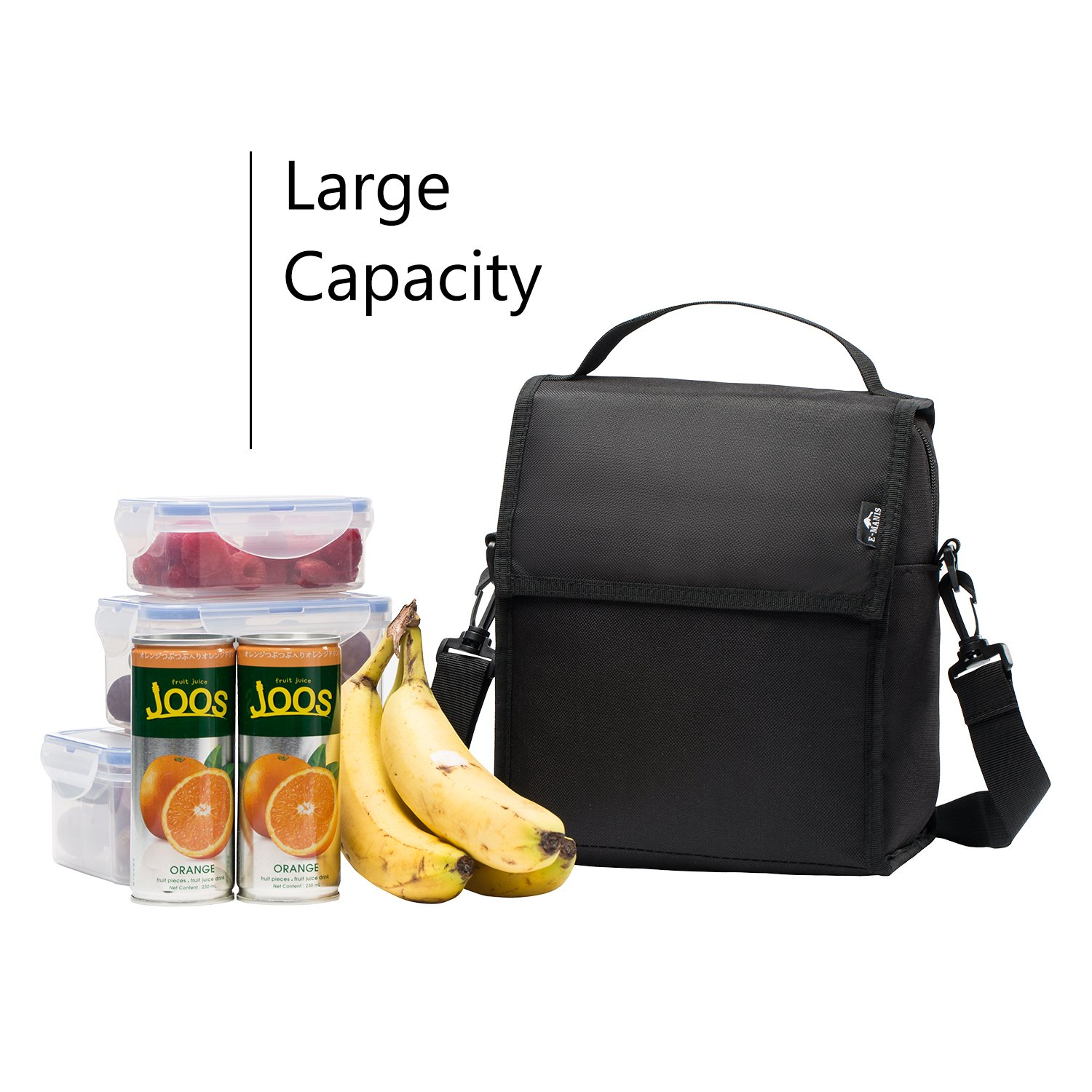 E-MANIS Insulated Lunch Bag Adult lunch box Collapsible Multi-Layers Thermal Insulated Oxford Lunch Tote cooler bag for men women Gray