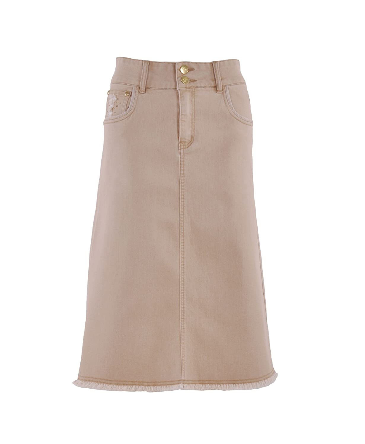 Style J Khaki Queen Denim Skirt at Amazon Women's Clothing store: