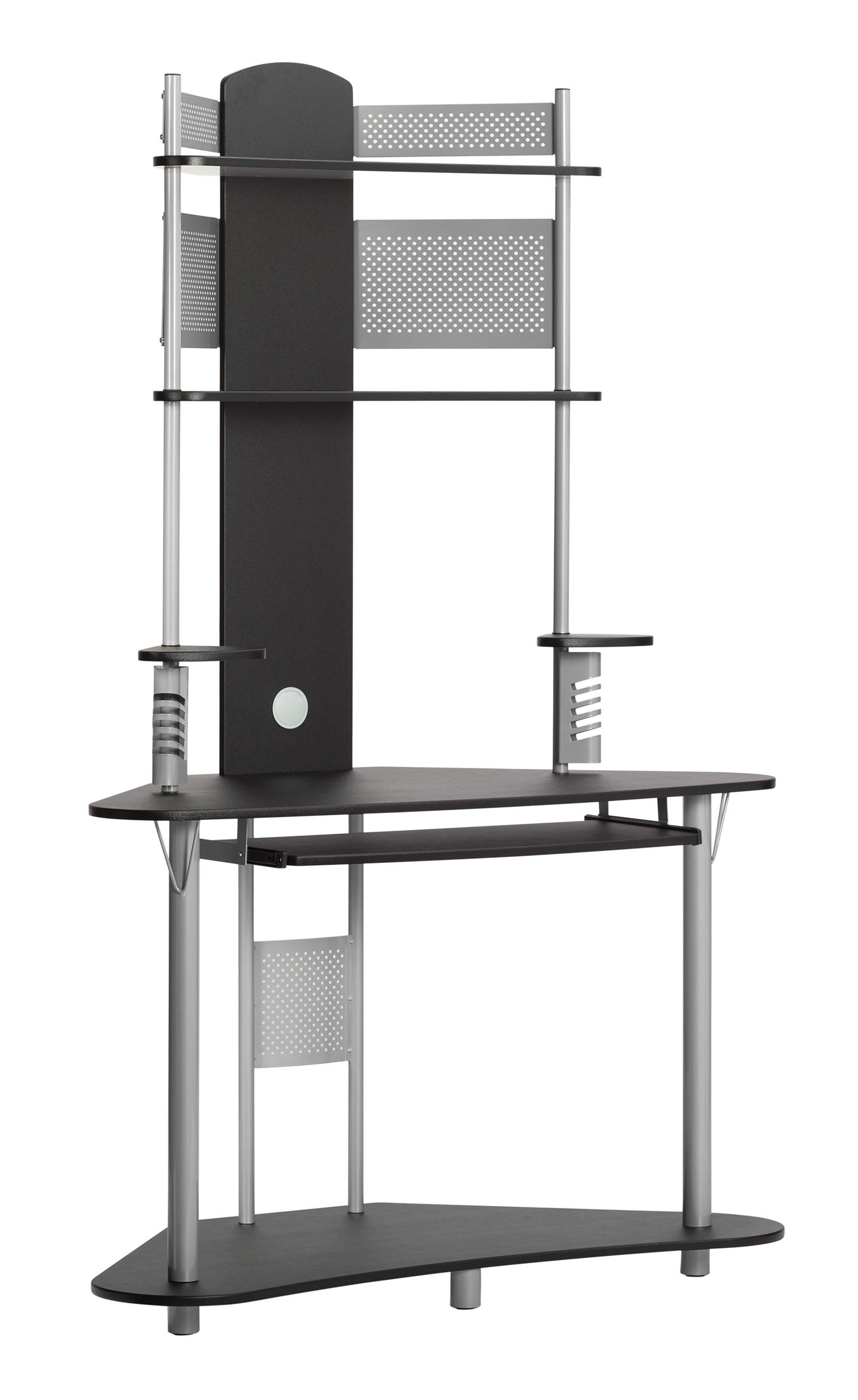 Calico Designs Arch Tower Corner Computer Tower Multipurpose Home Office Computer Writing Desk - Silver / Black, 50510