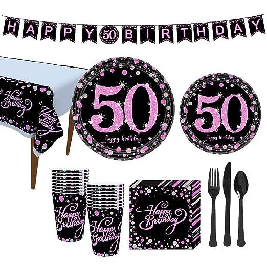 Amosfun Decoraciones de Fiesta en Negro y Rosa 50 cumpleaños ...