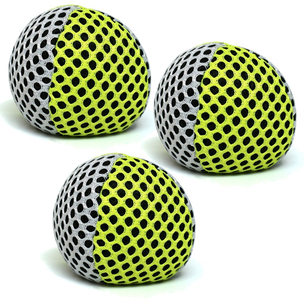 Speevers Xball Juggling/Joggling Balls Professional Set of 3. Fresh Design - 2 Layers of Net. PVC Carry Case. Pick Color, Size, Weight & Density. Choice of The World Champions! (120g White - Yellow)
