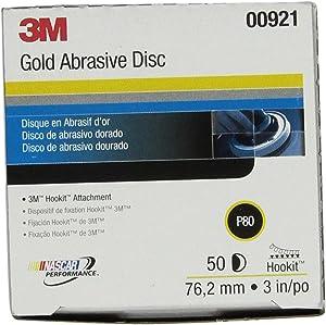 3M Hookit Gold Disc 236U, 00921, 3 in, P80, 50 discs per carton