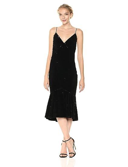 f4eb56fdd5f5 Vera Wang Women's Velvet Sequins Slip Dress with Flutter Skirt Cocktail:  Amazon.co.uk: Clothing