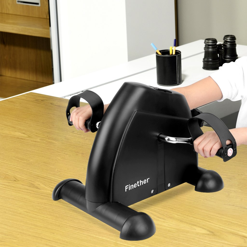 Finether Mini V/élo dexercice Appartement /à P/édales Trainer Appareil dexercice Volant Fer 2kg pour Entrainement Cardio et Fitness Entra/îner Ecran LCD Bouton de R/ésistance R/églable