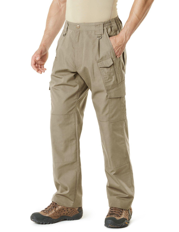 CQR CQ-TLP105-KHK_32W/32L Men's Tactical Pants Lightweight EDC Assault Cargo TLP105