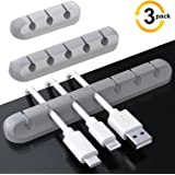 Cable Clips, 3 Pack Cord Management Organizer, TERSELY Silicone Adhesive Wire Cable Holder for Power Cords, Charging Cables in Office and Home (7 Slots 5 Slots 3 Slots,Gray)