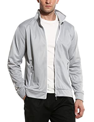 Coofandy Men Sport Long Sleeve Stripes Slim Color Block Fashion Sweatshirt(Black/Red/Gray)