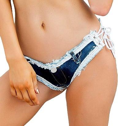 XiaoTianXin-women clothes XTX Womens Denim Shorts Destroyed Mid Rise Stretchy Cotton Bermuda Shorts