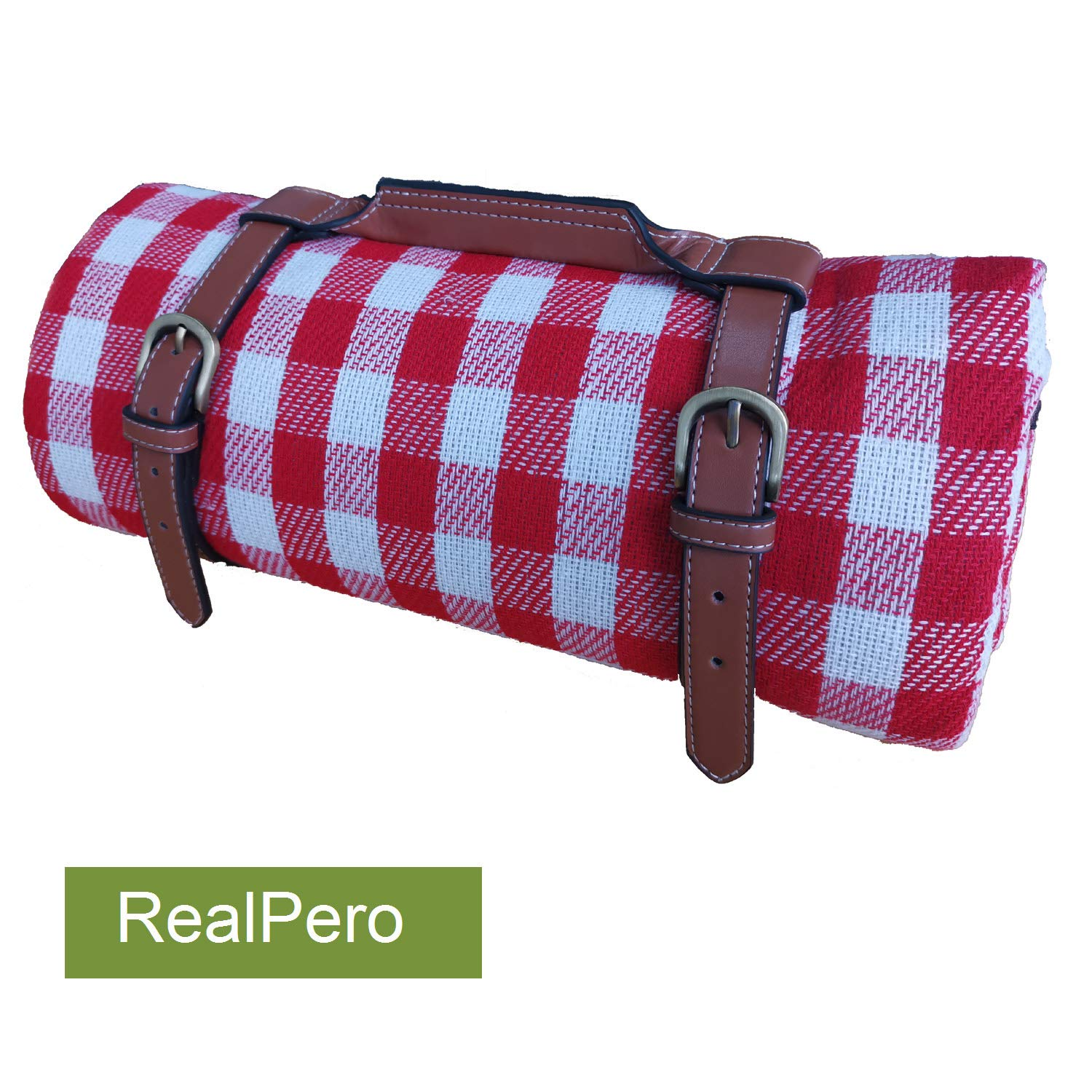 RealPero Extra Large Picnic Blanket Family Size High-end Fabric with PU Carrier Classic Red White Plaid Waterproof Light Weight and Portable Skin Friendly Outdoor Mat for Travel Lawn Sand-Proof Beach by RealPero