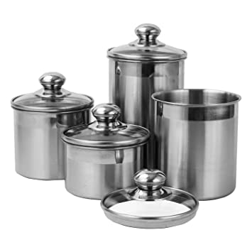 Vencer 4 Piece Brushed Stainless Steel Canister Set With Glass Lids