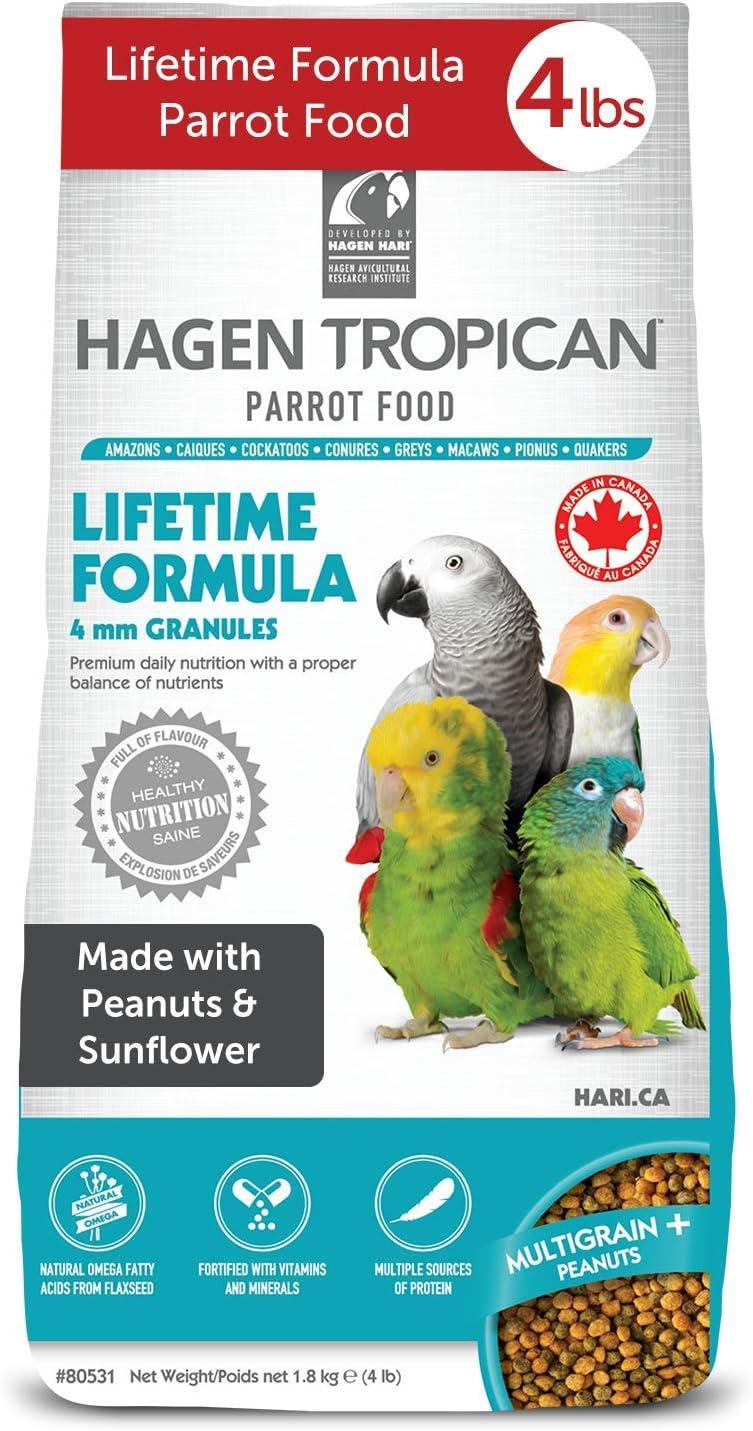 HARI Tropican Bird Food, Hagen Parrot Food with Peanuts & Sunflower Seeds, 4mm Granules, Lifetime Formula, 4 lb Bag
